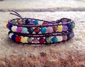 Leather Wrap Gemstone Bracelet