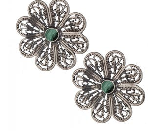 Sterling Silver Earrings, Yemenite Filigree Earrings, Stud flower Earrings, Ethnic Jewelry, Handmade Earrings, gift for her