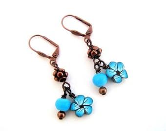 Blue flowers polymer clay earrings