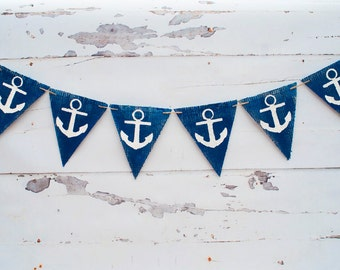 Rustic Anchor Banner, Nautical Banner, Nautical Baby Shower Banner, Nautical Anchors, B067