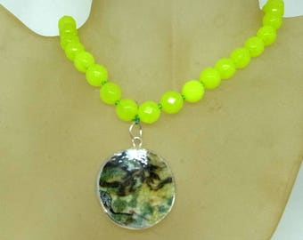 Peridot Necklace With Antique Shard Pendant - Hand Knotted Silk - Hand Painted Porcelain - Peridot Choker Necklace