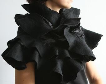 Eco fashion ruffled scarf Nuno felted shawl Black Elegance Wearable wool silk fiber art Ruffle scarf in black Handmade to order OOAK