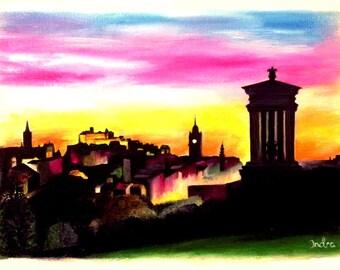 Calton Hill, Edinburgh Skyline  in Scotland, PRINT of my original oil painting