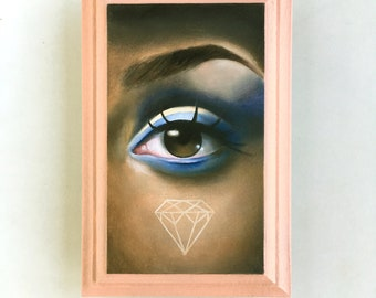 The Crown - Lover's Eye Oil Painting on wood plaque Lowbrow Pop Art black girl