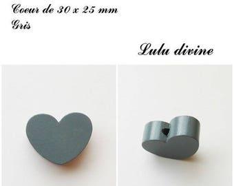 30 x 25 mm wooden bead, Pearl flat heart: gray