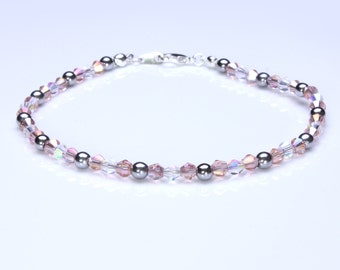 Swarovski Crystal Rose, Clear Ab and  Silver Hematite Anklet