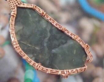 Agate Wire Wrapped Pendant in Copper