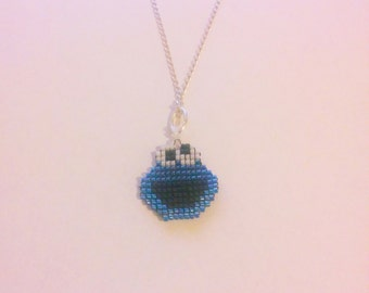 Sesame Street Cookie Monster Charm / Pendant Necklace handmade Delica glass seed beads with leather tie strap
