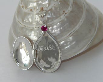Handcrafted 925 Sterling Silver 4 mm Lab Ruby Locket H2O Mermaids Pendant with Engraved Name