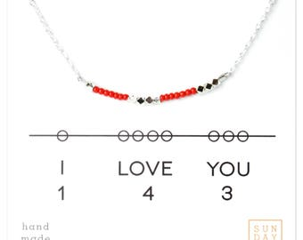 I love you 143,  Friendship Necklace. Red Valentine's Day Gift Holiday Jewely