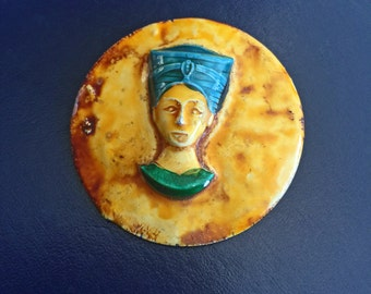 Vintage Art Deco Egyptian Revival Enamel Nefertiti Pin Brooch Made in Germany