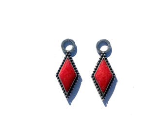 Rockin Out Jewelry - Diamond Drop - Earring Charms - Red - Coral - Sterling Silver - Lightweight - Womens - For Her - Valentines Gift - Cute