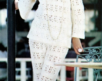 Crochet Pant Suit PDF Pattern Vintage Two Piece Sizes 8 to 18 Crocheted Reproduction Bust 31 to 40 inches Instant Download e-Pattern