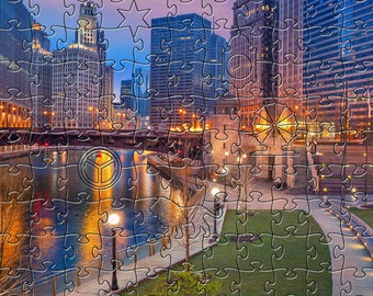 Chicago Twilight Zen Puzzle - Hand crafted, eco-friendly, American made artisanal wooden jigsaw puzzle