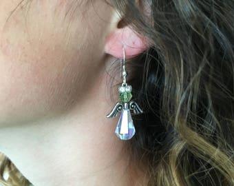 """Angel Jewelry, Angel Birthstone Earrings, """"Marin"""""""