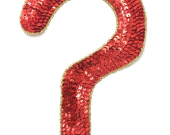 "Question Mark Applique, Sequin Beaded, 8"" x 5""  -B153-1736"