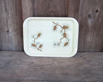 Vintage Large Metal Serving Tray with Pinecones