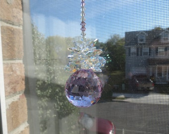 Swarovski SunCatcher Pineapple, Swarovski Violet Crystal 30mm Ball With Aurora Borealis, Home Decoration, Window Prism, Crystal Suncatcher