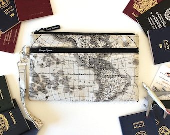 Family Passport Case - Travel Zipper Pouch - Family Passport Holder - World Map Travel Wallet - Travel Organizer - Boarding Pass Wallet