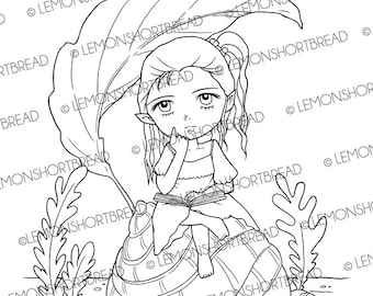 Digital Stamp Reading Book Elf Fairy, Digi Download, Fantasy Garden, Coloring Page, Thinking of You, Summer, Clip Art, Scrapbooking Supplies