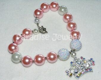 Crown Chunky Necklace Pink Pearl Bead Necklace Princess Tiara Crown Princess Birthday Pendant Chunky Bead Princess Jewelry Photo Prop