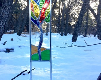 SALE Stained glass garden stake - Abstract tree