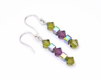 Swarovski Crystal Green and Purple Earrings, Olive Green Earrings, Purple Earrings, Green Drop Earrings, Gift For Her, Valentine's Gift