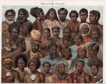 1894 oceania peoples original antique culture print