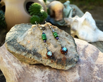 Abalone Shell Earrings, Handmade Shell Jewelry, Natural Jewelry, Gift Ideas for Her from The Hidden Meadow