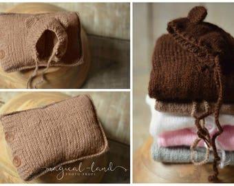Knitted Bear hat and Pillow set newborn photo prop