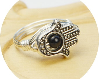Hamsa Hand Wrapped Ring-Sterling Silver, Yellow or Rose Gold Filled Wire/Silver Plated Bead, Black Jasper-Size 4 5 6 7 8 9 10 11 12 13 14 15