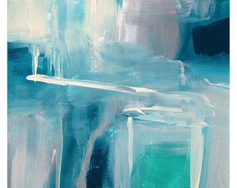 """Abstract painting Titled 'Aqua Edge I' by VKloch, aqua, deep turquoise, cream and grays, wall art acrylic on canvas, 8"""" x 10"""""""