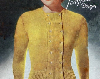 1940s Ladies Cardigan with Double Buttons Vintage Knitting Pattern PDF