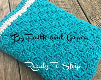 Turquoise Baby Afghan - Ready To Ship Afghan - Baby Blanket - Crochet Afghan - Crochet Blanket - Baby Boy or Girl Afghan