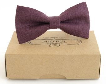 Purple linen bow tie, wedding necktie, linen necktie,  groomsmen necktie,  purple necktie, purple bow tie for men