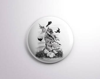 Where Dreams Go To Die Pin Pinback Buttons / Badges - 25 mm / 1 inch - Scarecrow Crow Halloween Illustration Horror Badges