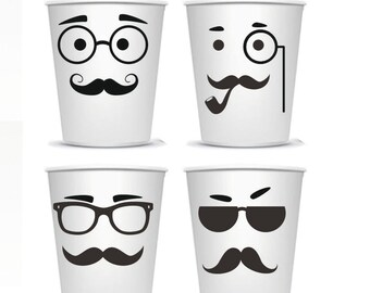 Mustache - vinyl stickers - Party decoration  - Cups stickers - Kid Birthday Party