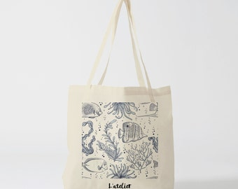 X213Y tote bag fish, bag canvas cotton bag, diaper bag, handbag, tote bag, bag of race, current bag, shopping bag, gift for friend