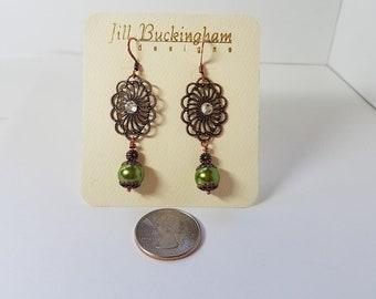 Earrings Olive Green Glass Pearls & Copper Filigree