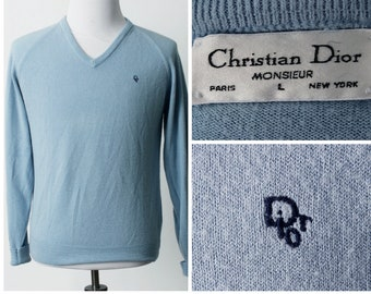 Vintage Christian Dior Sweater Monsieur - 80s Retro Large L Baby Blue