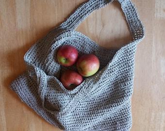 Linen & Cotton Crochet Market Bag - Made to order - Choice of Colour