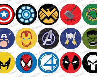 """Comic Bottlecap Images, 1"""" Circle Images, 4x6 Collage Sheet, Avengers Images, Digital Collage Sheet, Cupcake Toppers Thor"""