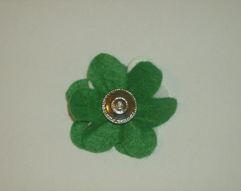 SALE: Green & white layered felt flower pin brooch with vintage silver rhinestone button