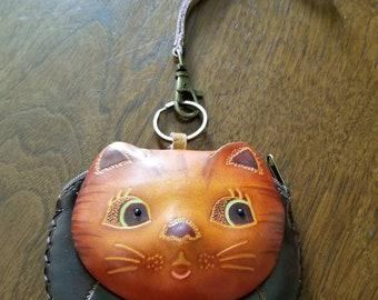 Cat/Kitten Leather Wristlet Coin Purse