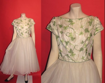 Vintage 1950's Wandering Ivy 50's Chiffon Crinoline Emma Domb California Party Cotillon Womens Dress -S