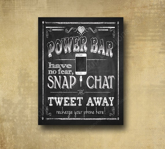 Wedding POWER BAR/Phone Charging Station Sign - chalkboard signage -  with optional add ons