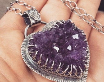 Reserved for L. Balance Due - Amethyst crystal heart - sacred heart - flaming heart - heart jewelry - raw crystal jewelry - crystal clu