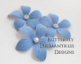 Something Blue Wedding Hair Flowers, Bridal Beach Hair Accessories - 3 Cornflower Blue Caribbean Plumeria Hair Pins - Rhinestone Centers