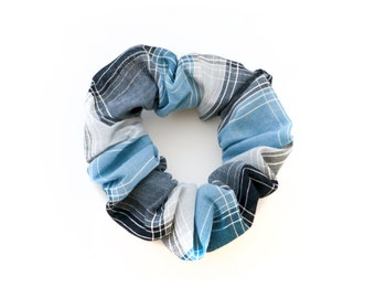 Blue Plaid Scrunchie - Made from 1980s Vintage Fabric - Blue, Grey and Black Sheer Plaid Print - by Mane Message on Etsy
