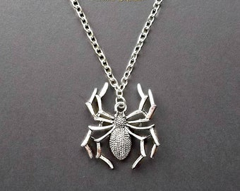 Spider Necklace, Spider Pendant, Silver Necklace, Gothic Necklace, Goth Jewellery, Tarantula Necklace, Spider Jewelry, Arachnophobia